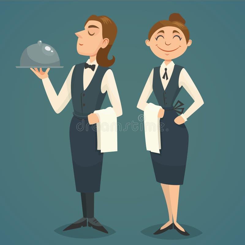 Uppassare- och servitristeckendesign, vektortecknad filmillustration stock illustrationer