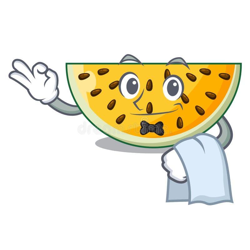 Uppassare per stycke av en gul vattenmelontecknad film stock illustrationer