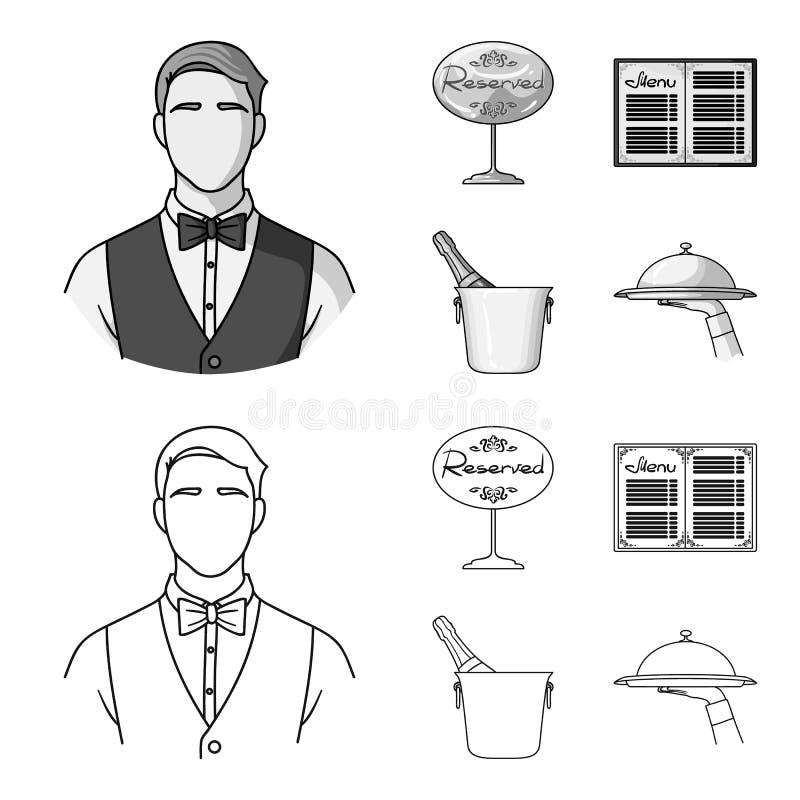 Uppassare reservtecken, meny, champagne i en ishink Fastställda samlingssymboler för restaurang i översikten, monokrom stil stock illustrationer