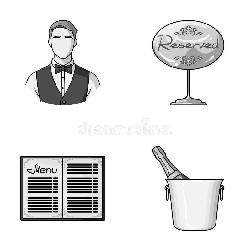 Uppassare reservtecken, meny, champagne i en ishink Fastställda samlingssymboler för restaurang i monokromt stilvektorsymbol vektor illustrationer