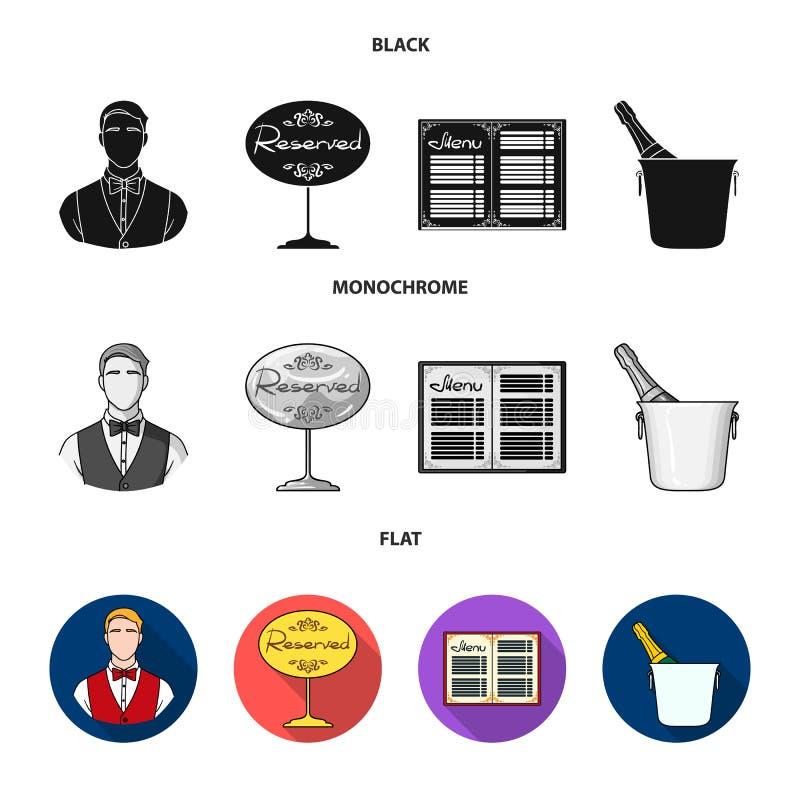 Uppassare reservtecken, meny, champagne i en ishink Fastställda samlingssymboler för restaurang i svart, lägenhet, monokrom stil royaltyfri illustrationer