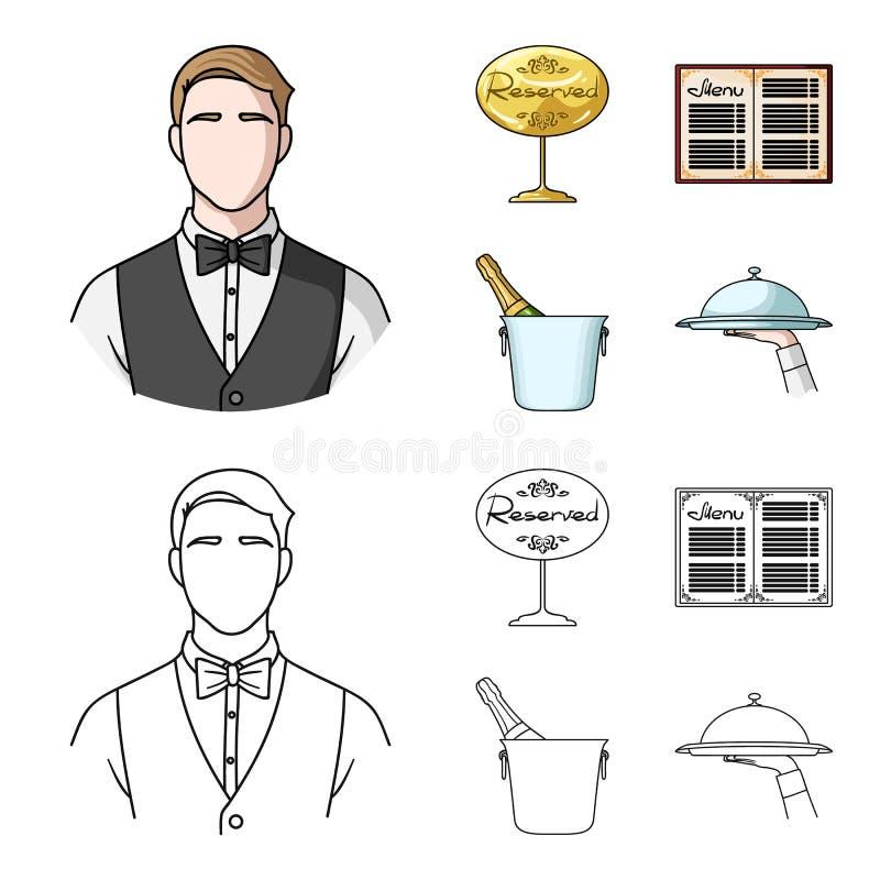 Uppassare reservtecken, meny, champagne i en ishink Fastställda samlingssymboler för restaurang i tecknade filmen, översiktsstilv royaltyfri illustrationer