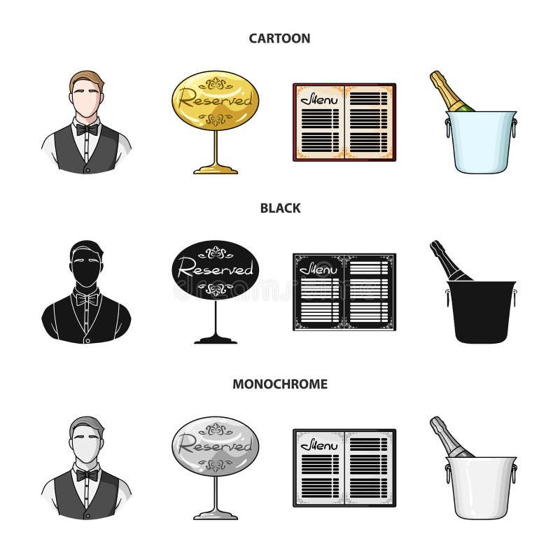 Uppassare reservtecken, meny, champagne i en ishink Fastställda samlingssymboler för restaurang i tecknade filmen, svart, monokro royaltyfri illustrationer