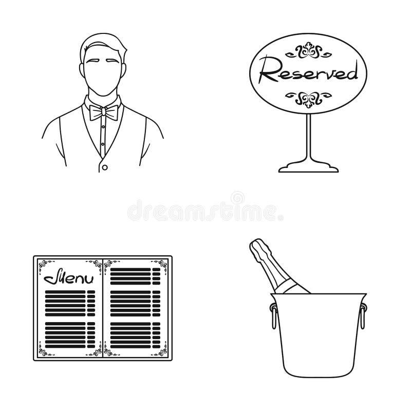 Uppassare reservtecken, meny, champagne i en ishink Utformar fastställda samlingssymboler för restaurang i översikt vektorsymbol stock illustrationer