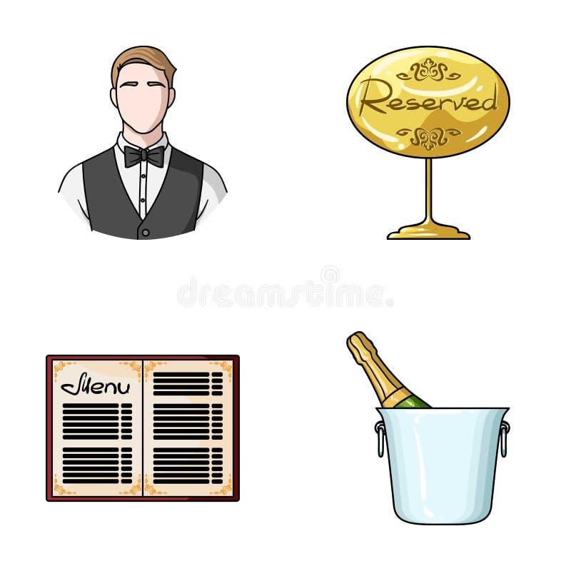 Uppassare reservtecken, meny, champagne i en ishink Utformar fastställda samlingssymboler för restaurang i tecknad film vektorsym stock illustrationer