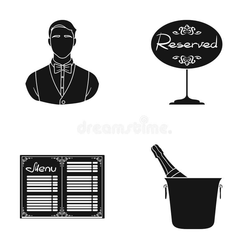Uppassare reservtecken, meny, vin i en ishink Fastställda samlingssymboler för restaurang i svart stilvektorsymbol royaltyfri illustrationer