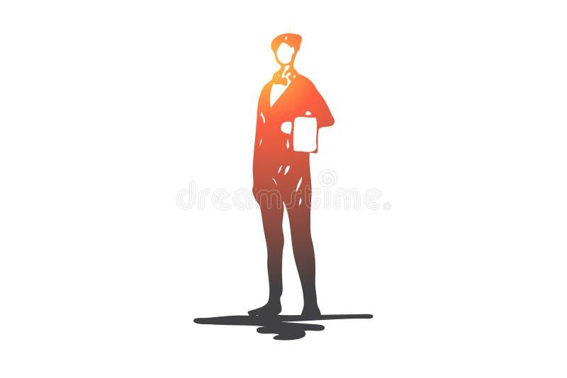 Uppassare restaurang, service, matr?tt, arbetsbegrepp Hand dragen isolerad vektor stock illustrationer