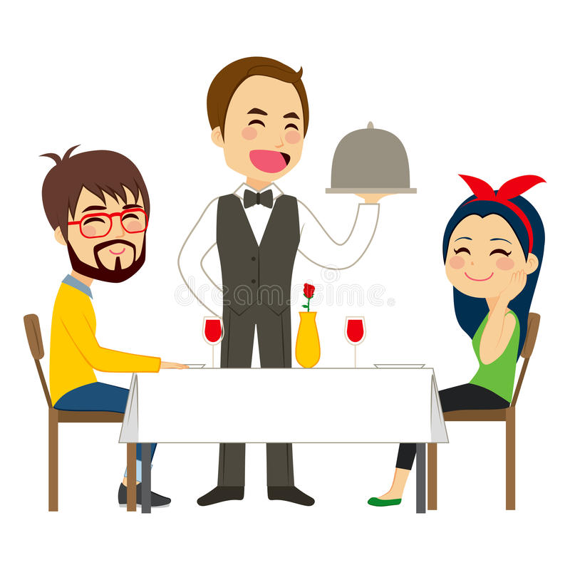 Uppassare Serving Restaurant royaltyfri illustrationer