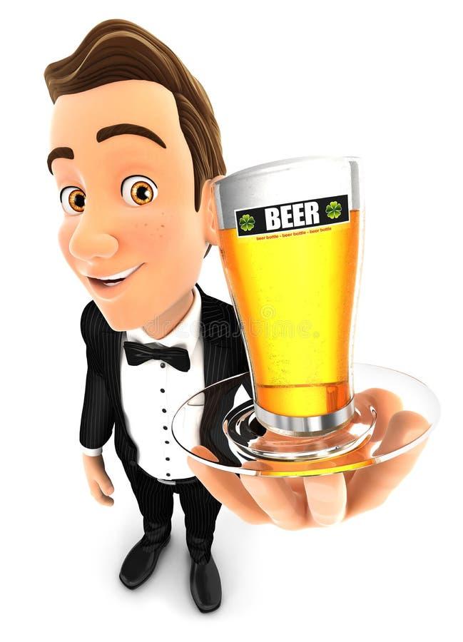 uppassare som 3d rymmer ett exponeringsglas av öl stock illustrationer
