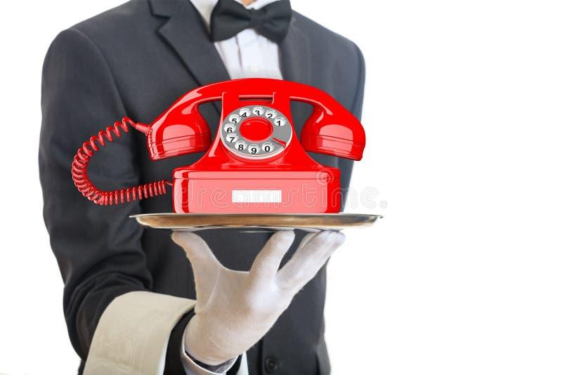 Uppassare som erbjuder en röd gammal telefon illustration 3d vektor illustrationer