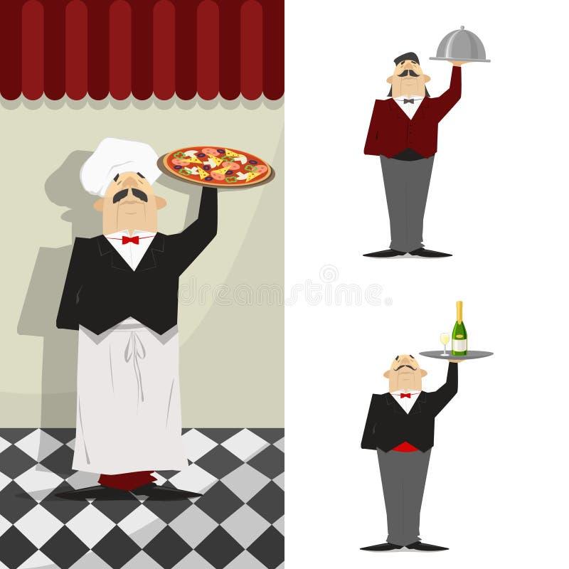 Uppassare uppsättning En uppassare i bakgrunden av restaurangväggen vektor illustrationer