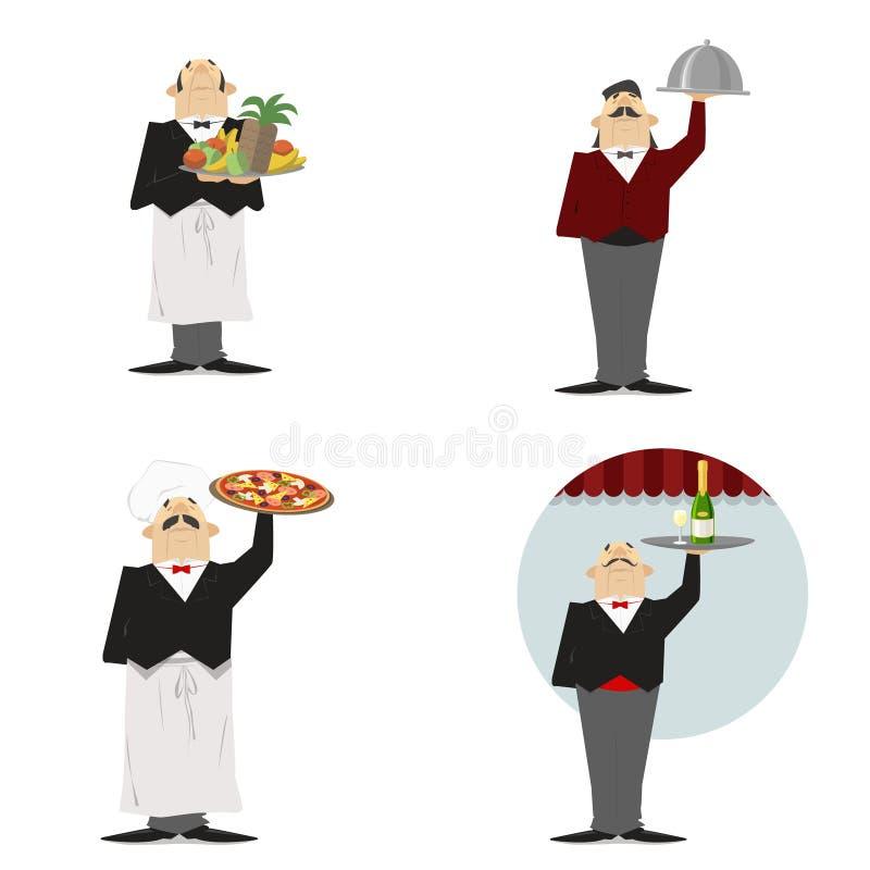 Uppassare uppsättning Uppassare med en maträtt, med pizza, med champagne, intelligens stock illustrationer