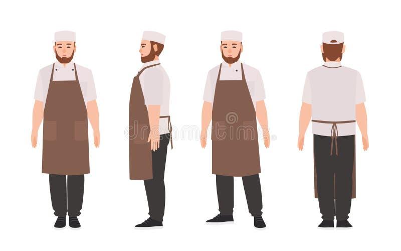 Uppassare, yrkesmässig restaurang och bärande förkläde för kökarbetare Gulligt manligt tecknad filmtecken som isoleras på vit stock illustrationer