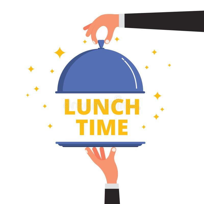 Uppassarehänder som öppnar avslöjande lunch för sticklingshuslockräkningen, tajmar text vektor illustrationer