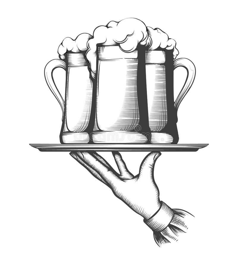 Uppassareinnehavmagasin med öl vektor illustrationer