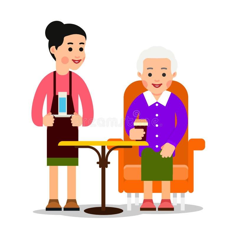 Uppassaren kom med exponeringsglas av den gamla kvinnan för vatten som dricker kaffe Farmor som sitter och rymmer kaffe- eller te vektor illustrationer
