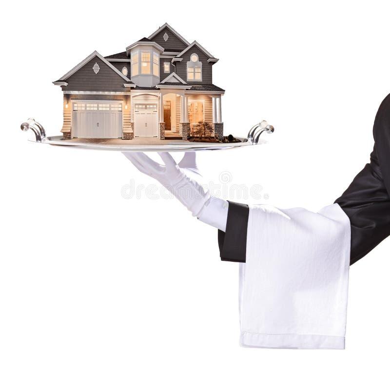 Uppassaren med handskar räcker tjänar som en byggande fastighet stock illustrationer