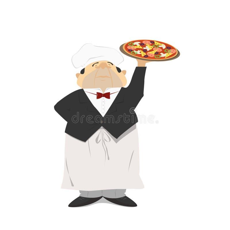 Uppassaren rymmer en pizza, italiensk pizza i en restaurang Waien royaltyfri illustrationer