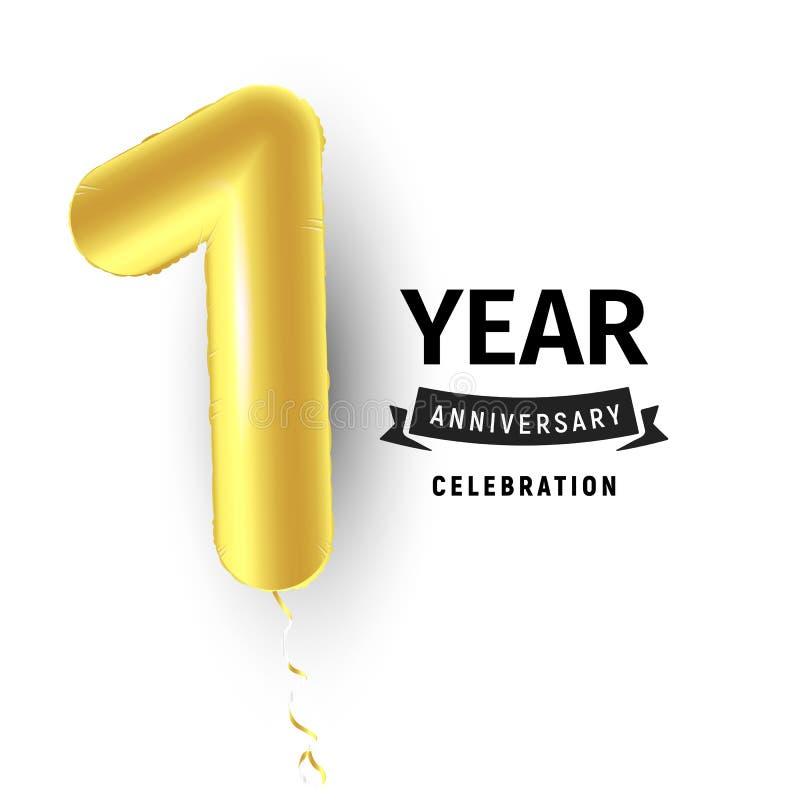Uppblåsbar guld- boll ett år med symbol 1 Vektorillustration eller affisch för första fira för födelsedag av ett barn vektor illustrationer