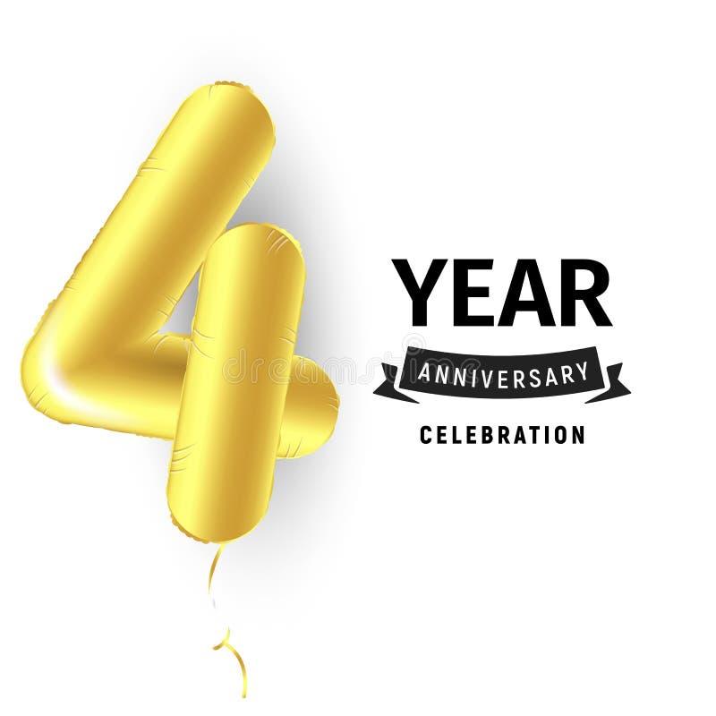 Uppblåsbar guld- boll ett år med symbol 4 Vektorillustration eller affisch för fjärde fira för födelsedag av ett barn royaltyfri illustrationer