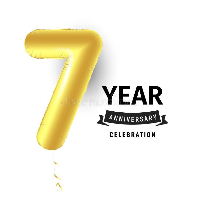 Uppblåsbar guld- boll ett år med symbol 7 Vektorillustration eller affisch för sjunde fira för födelsedag av ett barn vektor illustrationer