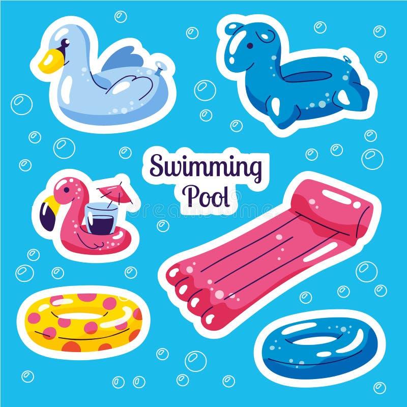Uppblåsbar simma flöteuppsättning Den gulliga vattenleksaker flamingo, svan, ringer flöten Klistermärkear för sommar för strandpa royaltyfri illustrationer