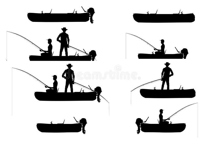 Uppblåsbara fartyg med sportfiskare royaltyfri illustrationer