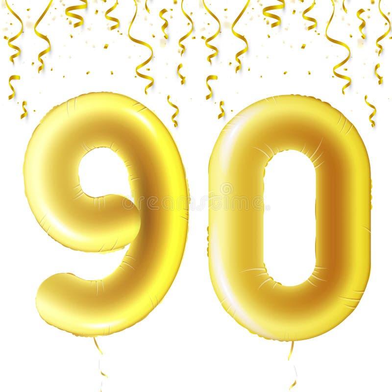 Uppblåsbara guld- bollar med fallande konfettier och hängande band Nittio år symbol 90 Vektorillustration, logo eller royaltyfri illustrationer