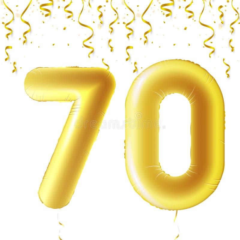Uppblåsbara guld- bollar med fallande konfettier och hängande band Sjuttio år symbol 70 Vektorillustration, logo stock illustrationer