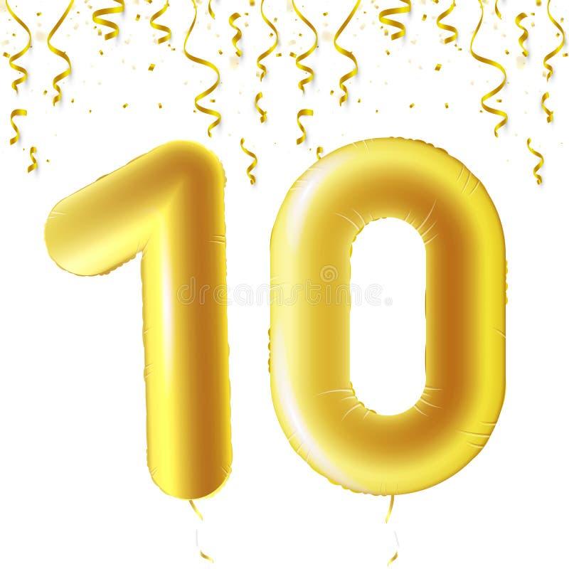 Uppblåsbara guld- bollar med fallande konfettier och hängande band Tio år symbol 10 Vektorillustration, logo eller royaltyfri illustrationer