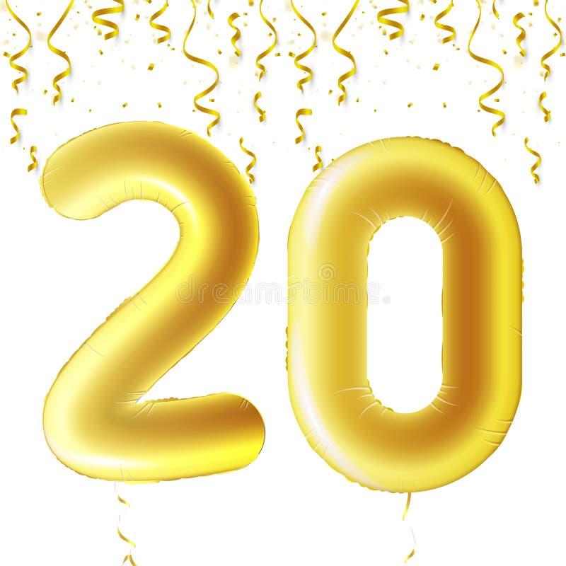 Uppblåsbara guld- bollar med fallande konfettier och hängande band Tjugo år symbol 20 Vektorillustration, logo eller vektor illustrationer