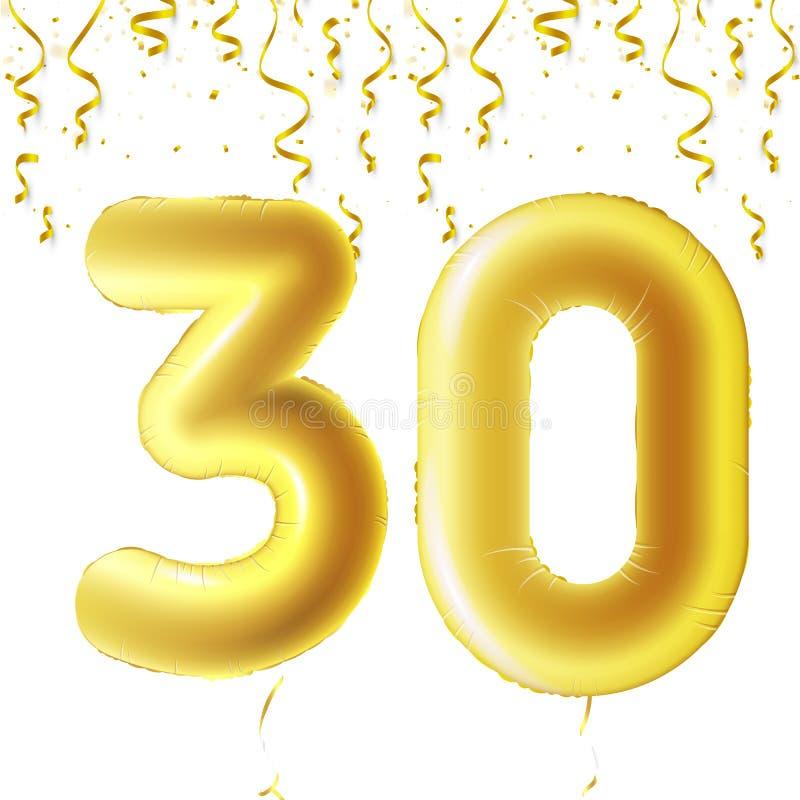 Uppblåsbara guld- bollar med fallande konfettier och hängande band Trettio år symbol 30 Vektorillustration, logo eller vektor illustrationer