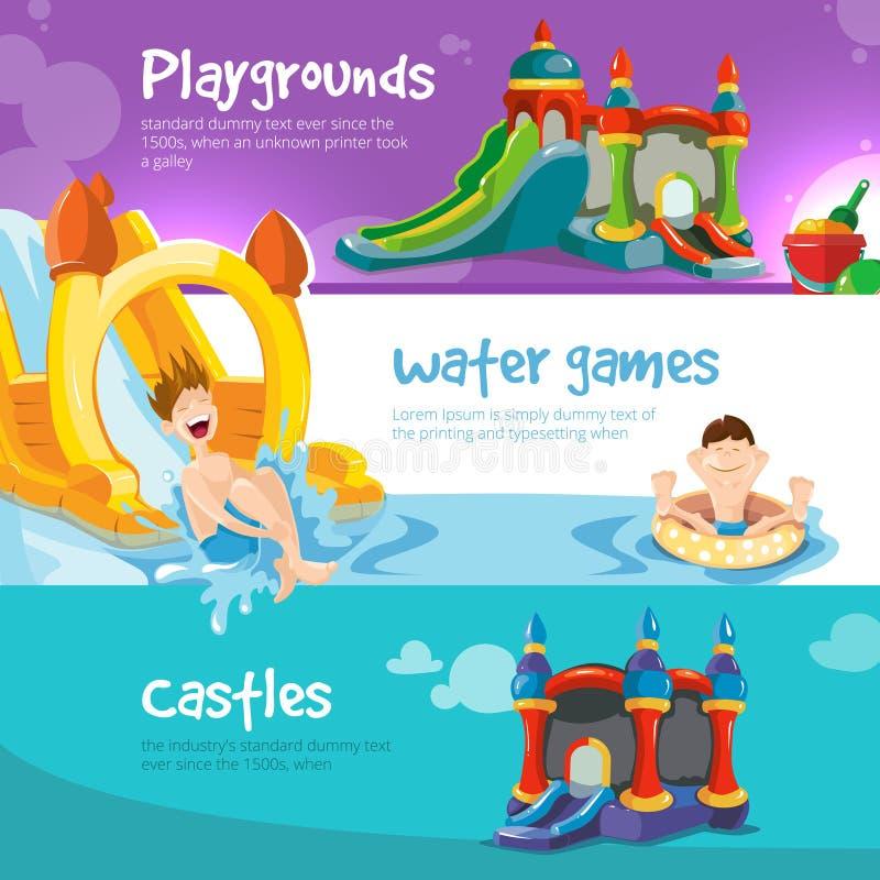 Uppblåsbarslottar och barns kullar på lekplats stock illustrationer