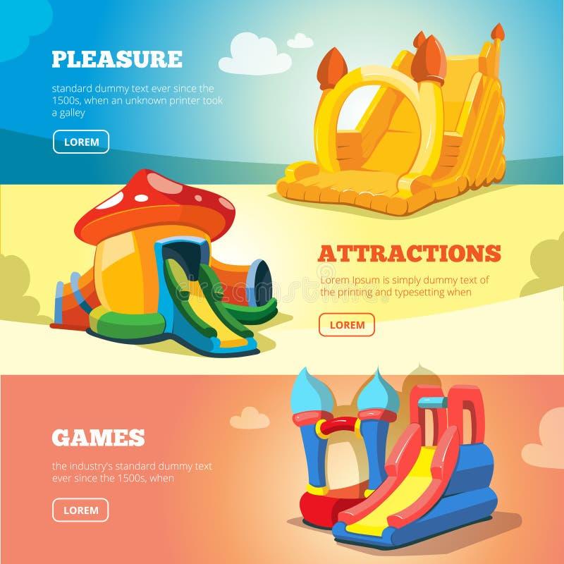 Uppblåsbarslottar och barns kullar på lekplats royaltyfri illustrationer