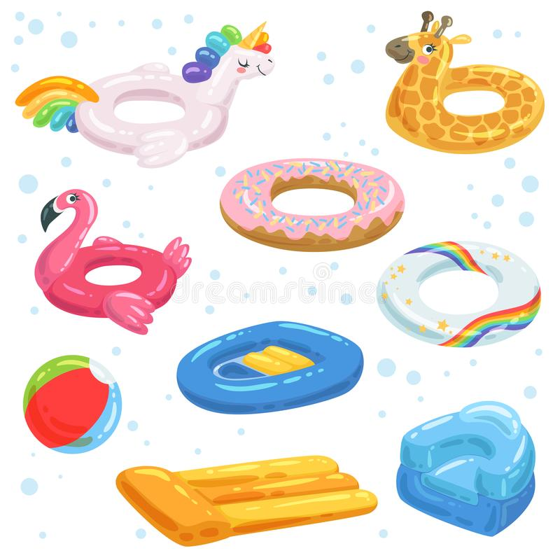 Uppblåsbart gummi, madrassbollar och andra vattenutrustningar för ungar vektor illustrationer