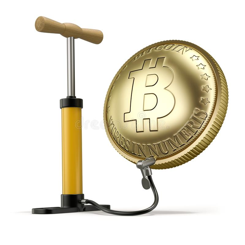 Uppblåsta Bitcoin - illustration 3D royaltyfri foto