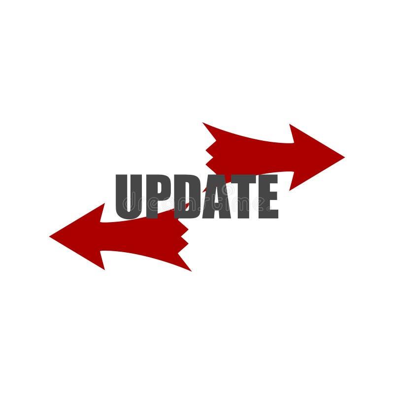 Uppdatera programvarusymbolen, begreppsbetydelsen som byter ut program med en nyare version av samma produkt stock illustrationer