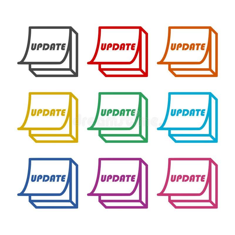 Uppdatering-, uppdateringprogramvarusymbol eller logo, färguppsättning stock illustrationer