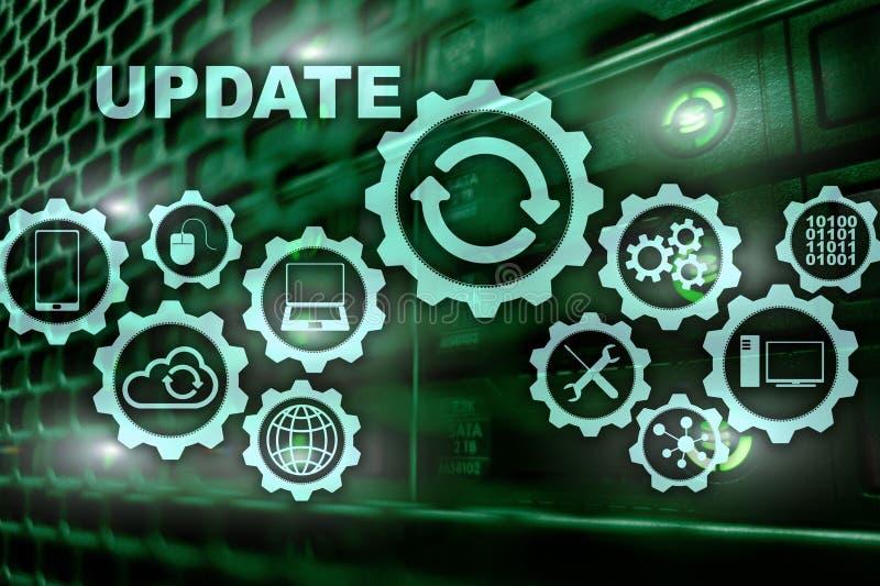 Uppdateringprogramvarudatoren på serveren för den faktiska skärmen hyr rum Datacenter bakgrund Teknologi som uppdaterar begrepp arkivfoton