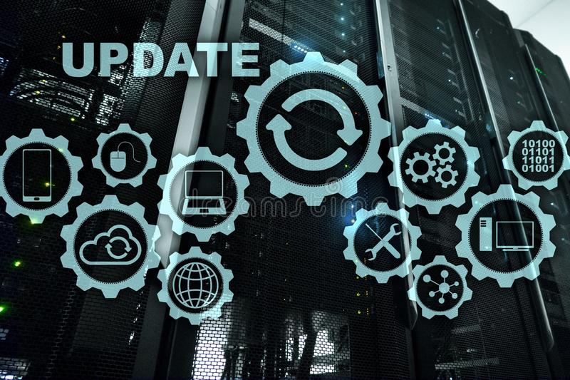 Uppdateringprogramvarudatoren p? serveren f?r den faktiska sk?rmen hyr rum Datacenter bakgrund Uppdatera för teknologi vektor illustrationer