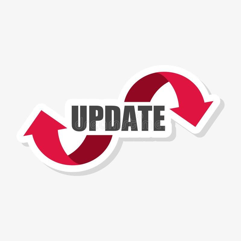 Uppdateringprogramvaruklistermärke eller logo, begreppsbetydelse som byter ut program med en nyare version av samma produkt stock illustrationer