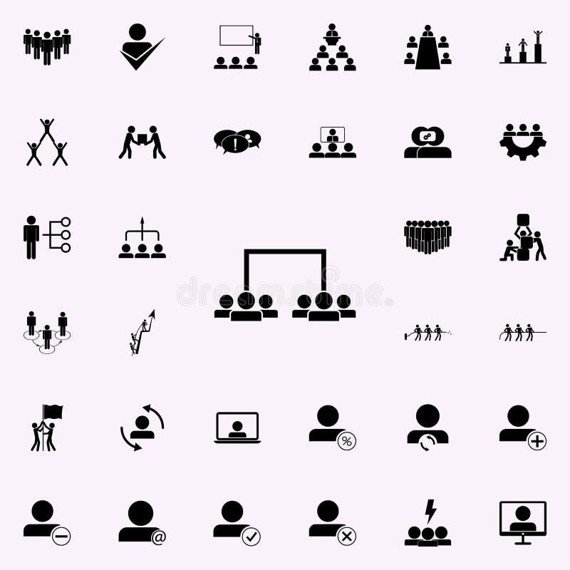 uppdelning av anställda in i lagsymbol Universell uppsättning för teamworksymboler för rengöringsduk och mobil stock illustrationer
