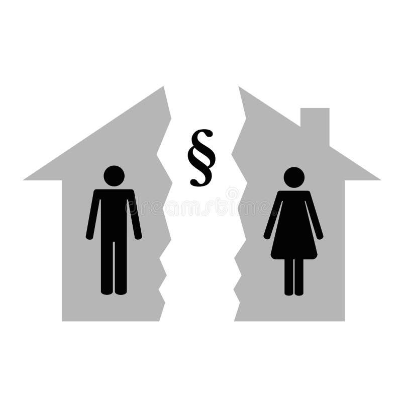 Uppdelning av egenskapen på den skilsmässamannen och kvinnan i varje halva av en huspictogram stock illustrationer