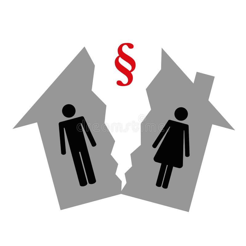 Uppdelning av egenskapen på den skilsmässapictogrammannen och kvinnan i ett halvt hus vektor illustrationer