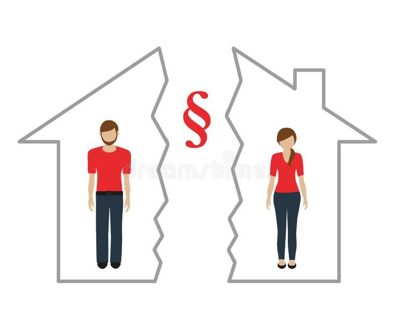 Uppdelning av egenskapen på skilsmässan av mannen och kvinnan i ett halvt hus vektor illustrationer