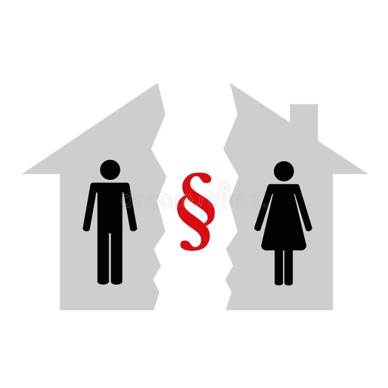 Uppdelning av egenskapen på skilsmässapictogramen stock illustrationer