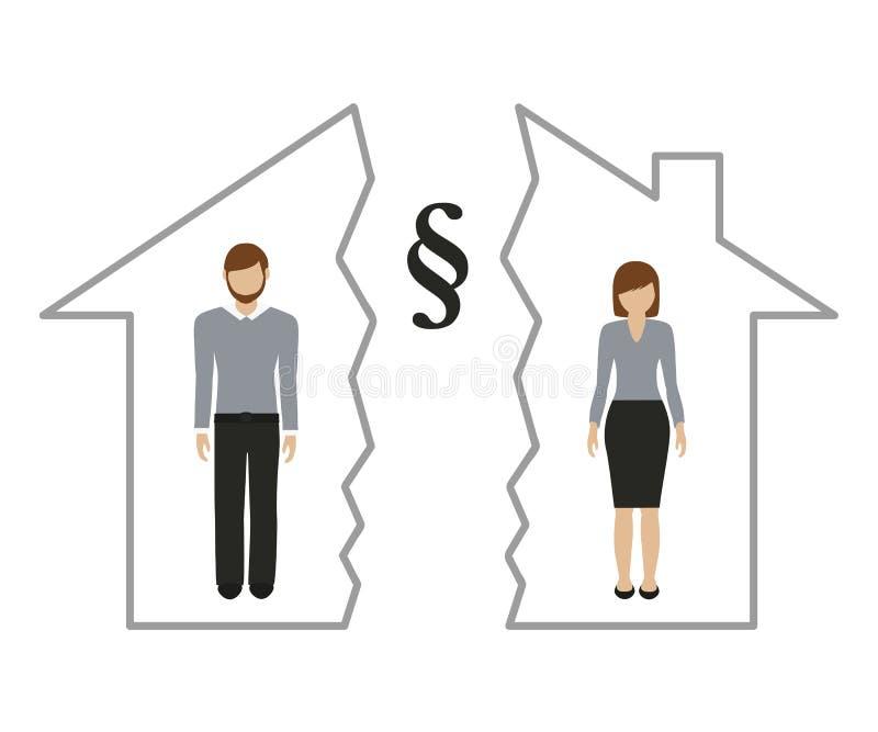 Uppdelning av egenskapen p? skilsm?ssan av mannen och kvinnan i ett halvt hus royaltyfri illustrationer