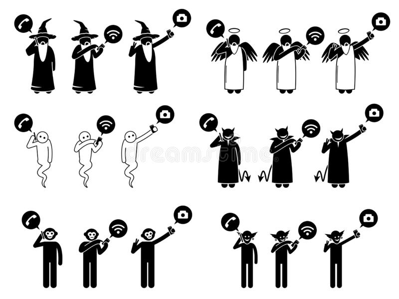 Uppdiktade tecken som använder telefon- eller smartphoneteknologi stock illustrationer