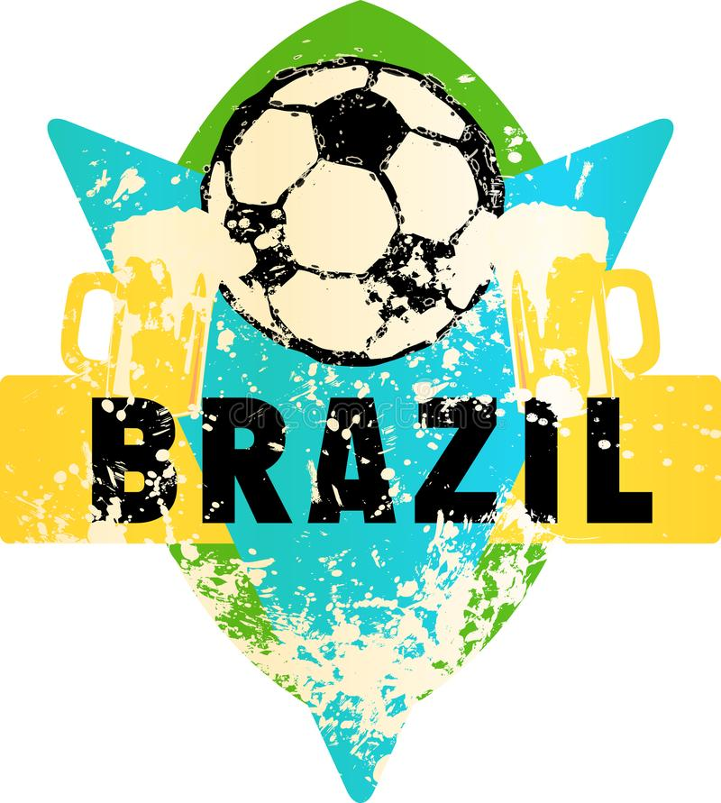 Uppdiktat grungy emblem för fotboll/för fotboll med fotbollbollen och b vektor illustrationer