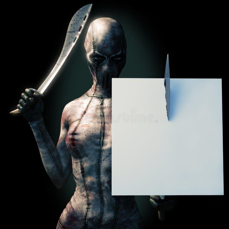 Uppdiktat skräckinjagande kvinnligt tecken i dräkt med macheten Hyra rum för text eller kopiera utrymmeallhelgonaaftonannonsering vektor illustrationer